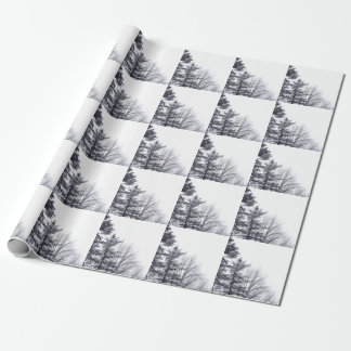Snow-covered Trees: Vertical Gift Wrapping Paper