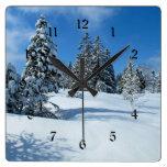 Snow-Covered Trees, Winter Scene Square Wall Clocks