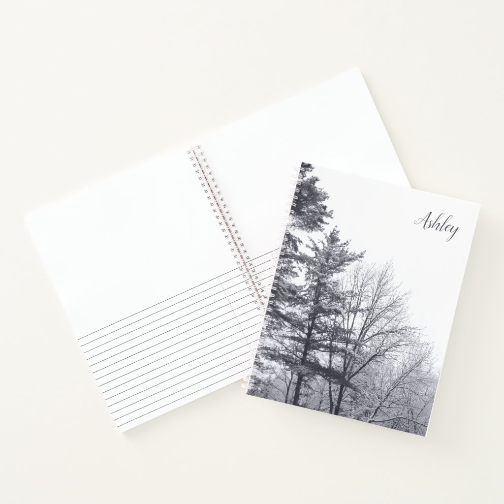 Snow-covered Trees with Custom Name Notebook