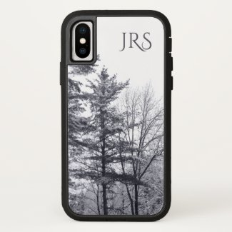 Snow-covered Trees with Monogram iPhone Case