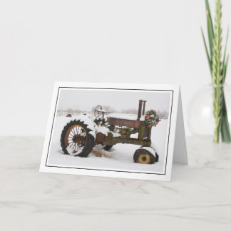 Snow-Covered Vintage Tractor at Christmas Holiday Card