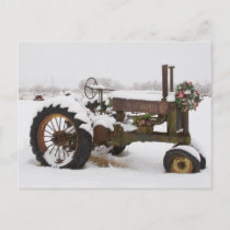 Snow-Covered Vintage Tractor at Christmas Holiday Postcard