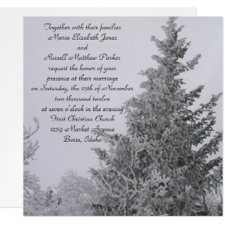 Snow Covered Winter Pine Wedding Card