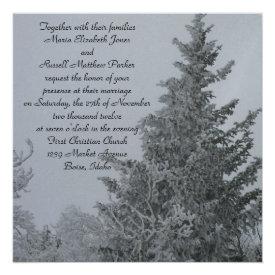 Snow Covered Winter Pine Wedding Custom Invitations