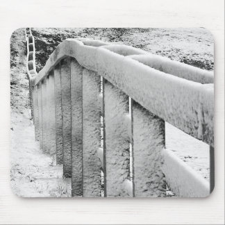 Snow Covered Wood Fence Black & White Photography Mouse Pad