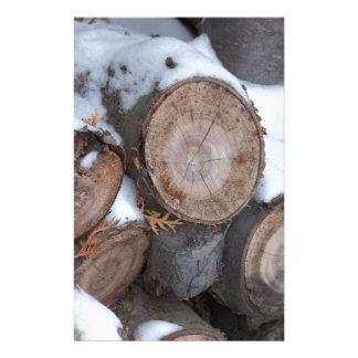 Snow Covered Wood Pile Stationery