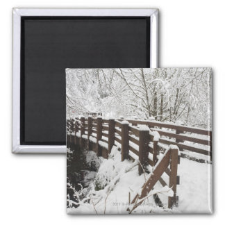 Snow Covered Wooden Bridge 2 Inch Square Magnet