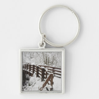 Snow Covered Wooden Bridge Keychain