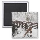 Snow Covered Wooden Bridge Magnet