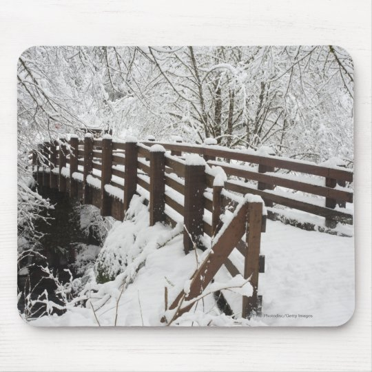 Snow Covered Wooden Bridge Mouse Pad