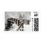 Snow Covered Wooden Bridge Postage Stamps