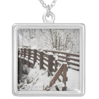 Snow Covered Wooden Bridge Silver Plated Necklace