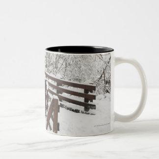 Snow Covered Wooden Bridge Two-Tone Coffee Mug