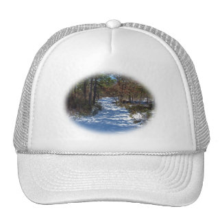 Snow Covered Woodland Path Trucker Hat