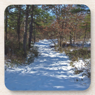 Snow Covered Woodland Path in Winter Beverage Coaster