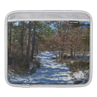 Snow Covered Woodland Path in Winter iPad Sleeves