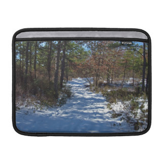 Snow Covered Woodland Path in Winter MacBook Air Sleeves