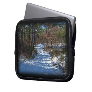 Snow Covered Woodland Path in Winter Laptop Computer Sleeve
