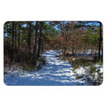 Snow Covered Woodland Path in Winter Flexible Magnets