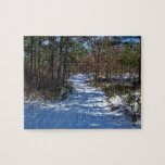 Snow Covered Woodland Path in Winter Puzzle