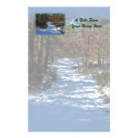 Snow Covered Woodland Path in Winter Stationery