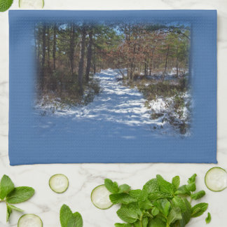 Snow Covered Woodland Path in Winter Towels