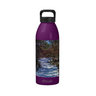 Snow Covered Woodland Path in Winter Drinking Bottle