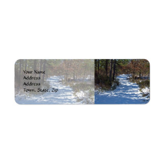 Snow Covered Woodland Path Label