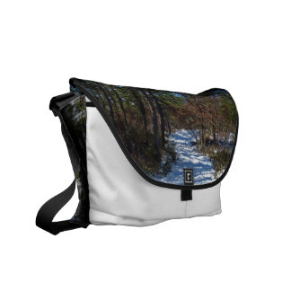 Snow Covered Woodland Path Courier Bags