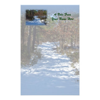 Snow Covered Woodland Path Stationery