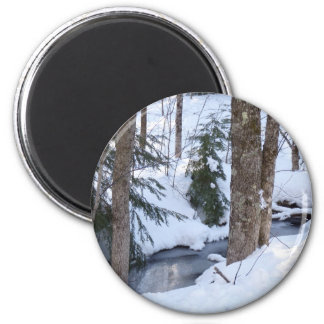 Snow Covered Woods 2 Inch Round Magnet