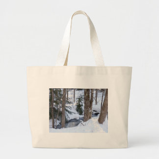 Snow Covered Woods Jumbo Tote Bag