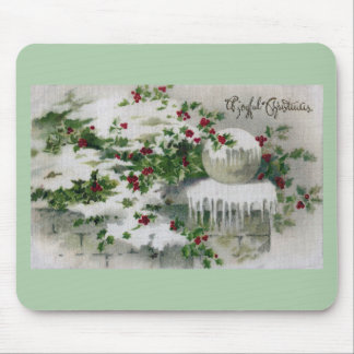Snow Covers Holly at the Gate Vintage Xmas Mouse Pad