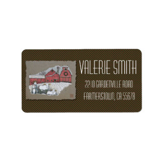 Snow Cows & Barn Personalized Address Labels