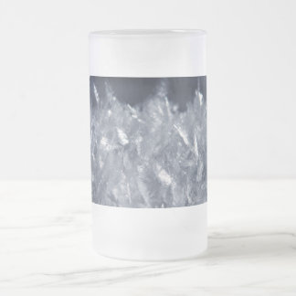 Snow Crystals Frosted Glass Beer Mug