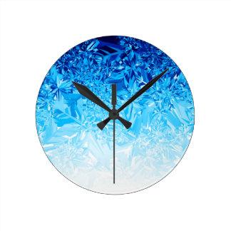 Snow Crystals Round Clock