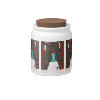 Snow Dachshund Candy Jar