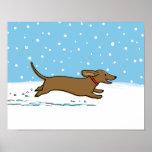 Snow Dachshund - Happy Winter Wiener Dog Posters