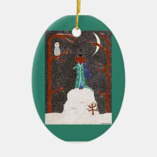 Snow Dachshund Ornament - Ceramic Oval