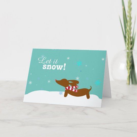 Snow Dachshund Wiener Dog Holiday Greeting Card Zazzle Com