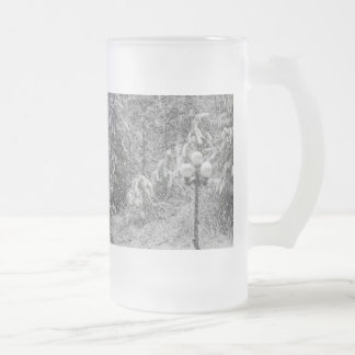 Snow Day Frosted Glass Beer Mug