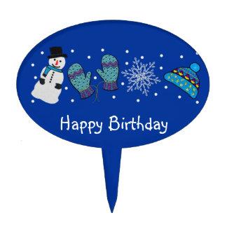 Snow Day Happy Birthday Cake Topper