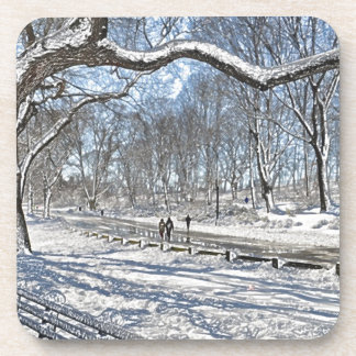 Snow Day in Central Park Drink Coaster