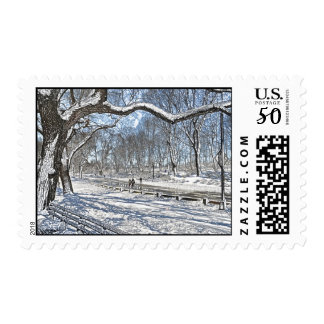 Snow Day in Central Park Postage