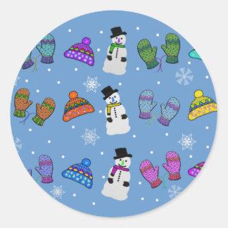 Snow Day Pattern Classic Round Sticker