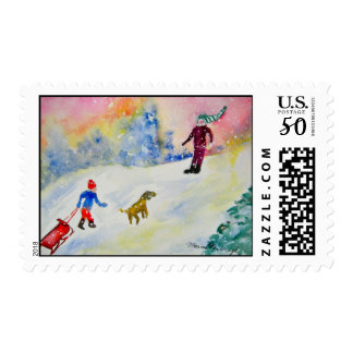 Snow Day - Postage stamp