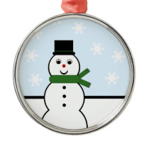 Snow Day Snowman Premium Round Ornament