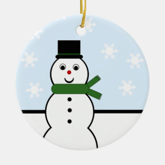 Snow Day Snowman Round Ornament
