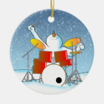 Snow Din Double-Sided Ceramic Round Christmas Ornament