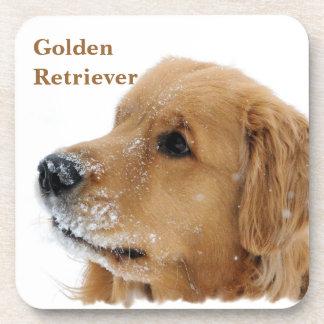 Snow Dog Golden Retriever Beverage Coaster